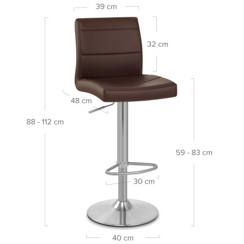 Brushed Steel Breakfast Bar Stool Brown