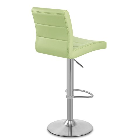 Brushed Steel Breakfast Bar Stool Green