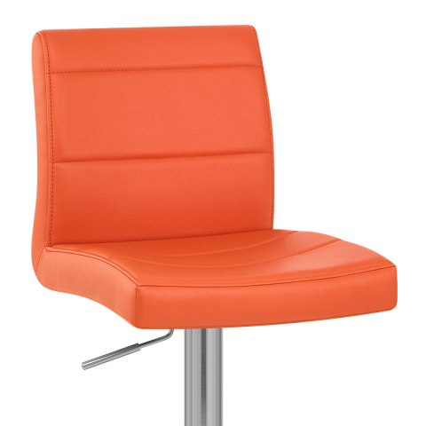 Brushed Steel Breakfast Bar Stool Orange