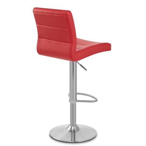 Brushed Steel Breakfast Bar Stool Red