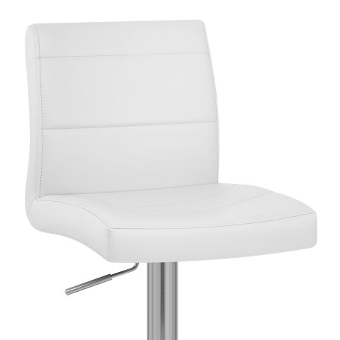 Brushed Steel Breakfast Bar Stool White