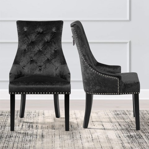 Ascot Dining Chair Black Velvet Atlantic Shopping