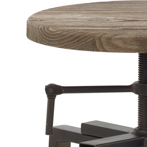 Industrial Turner Stool Dark Wood
