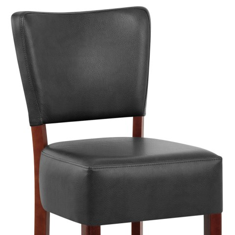 Ramsay Walnut Stool Black Leather