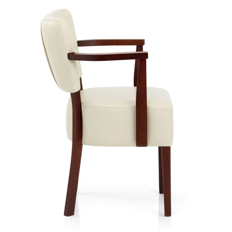 Ramsay Walnut Chair With Arms Cream