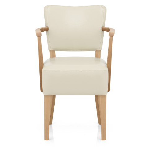 Carlo Oak Chair Cream Leather - Atlantic Shopping