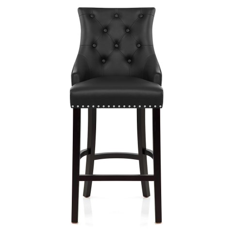 Ascot Bar Stool Black Leather - Atlantic Shopping