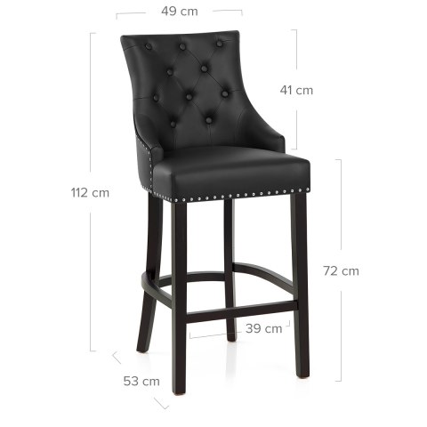 Ascot Bar Stool Black Leather
