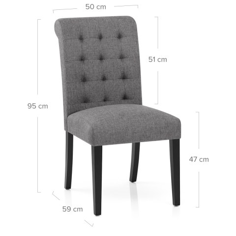 Thornton dining chair grey fabric atlantic shopping for Dining chair dimensions
