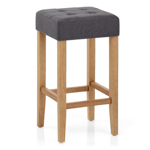 Oliver Oak Stool Charcoal Fabric
