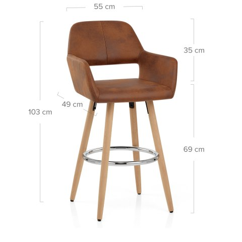 Kite Wooden Stool Antique Brown