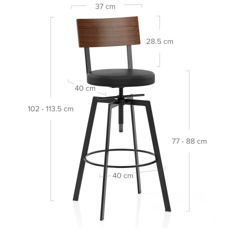 Urban Walnut Industrial Stool Black