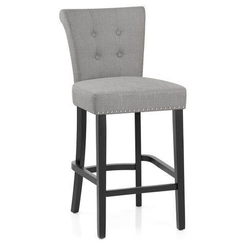 Buckingham bar stool grey fabric atlantic shopping for Chaise de bar violet