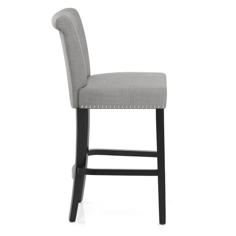 Buckingham Bar Stool Grey Fabric Atlantic Shopping