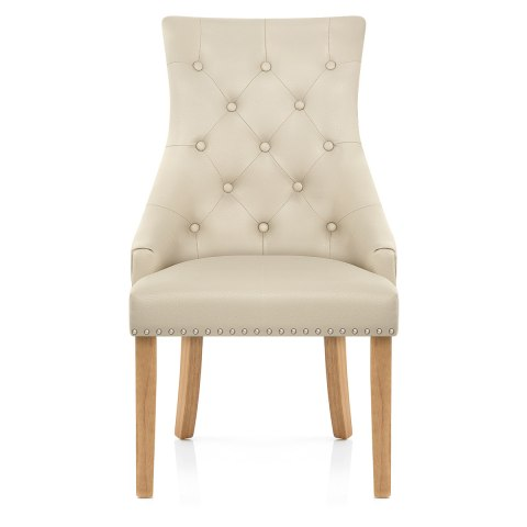 Ascot Oak Dining Chair Cream Leather