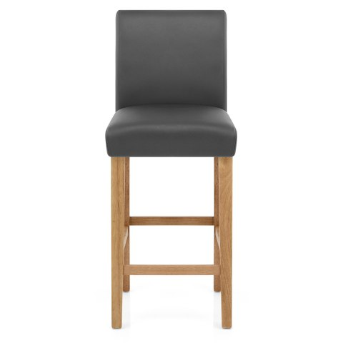 Tetbury Oak Bar Stool Grey Leather Atlantic Shopping