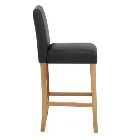 Tetbury Oak Bar Stool Black Leather
