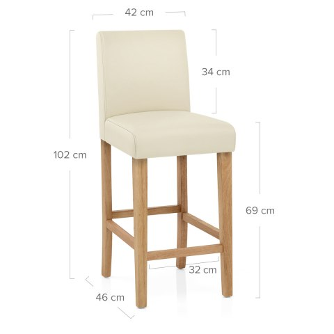 Tetbury Oak Bar Stool Cream Leather