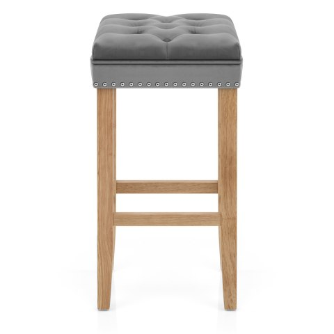 Belgravia Oak Stool Grey Velvet