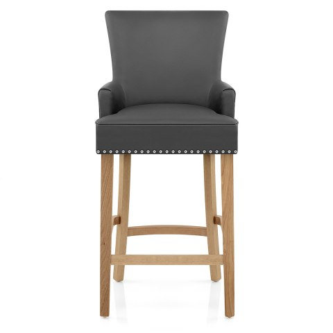 Nico Wooden Stool Grey Leather