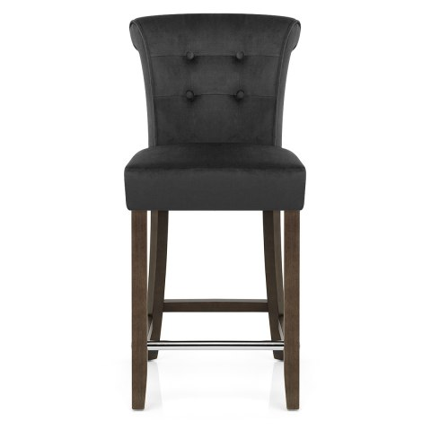Carlton Scroll Back Stool Black Velvet