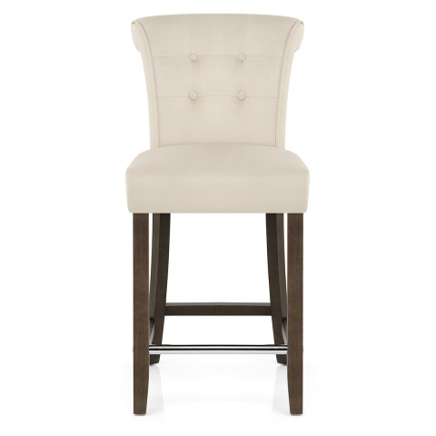 Carlton Scroll Back Stool Beige Velvet