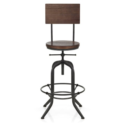 Lathe Wooden Stool Gunmetal