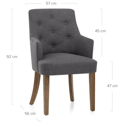 Broadway Oak Chair Charcoal Fabric