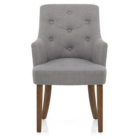 Broadway Oak Chair Grey Fabric