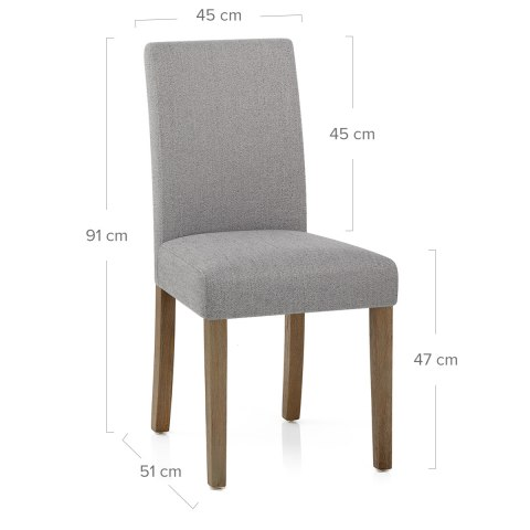Chicago Oak Chair Grey Fabric