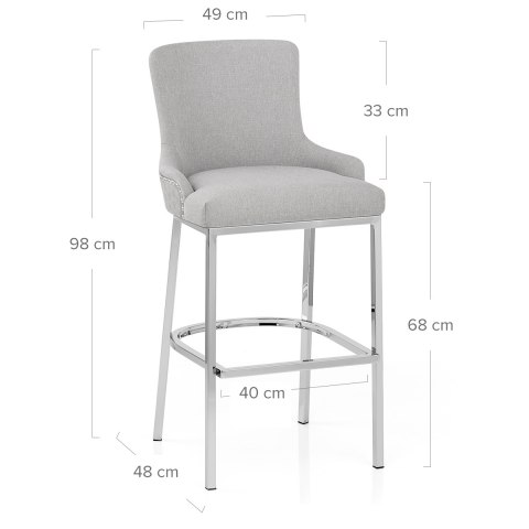 Blush Bar Stool Light Grey Fabric
