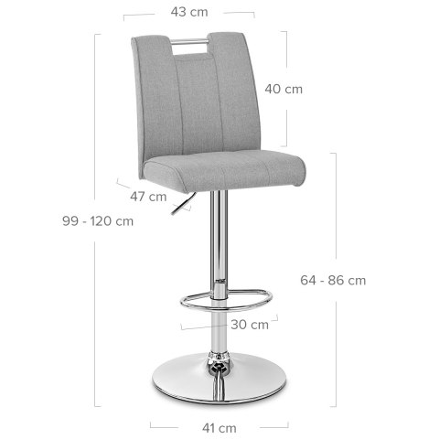 Loco Bar Stool Grey Fabric