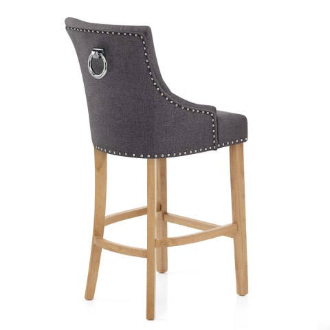 Ascot Oak Stool Charcoal Fabric
