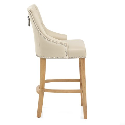Ascot Oak Stool Cream Leather