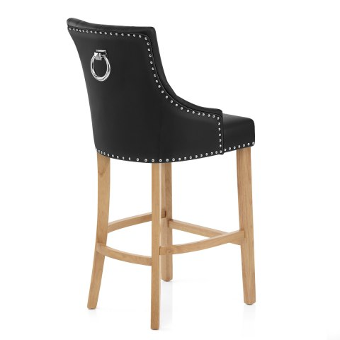 Ascot Oak Stool Black Leather