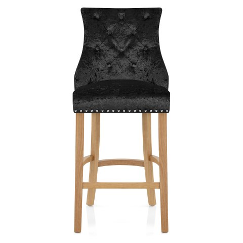 Ascot Oak Stool Black Velvet
