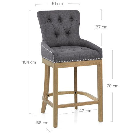 Knightsbridge Oak Stool Charcoal Fabric
