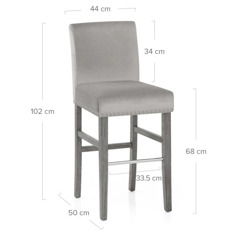 Brunswick Stool Grey Velvet