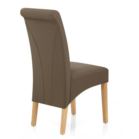 Carlo Oak Chair Brown Fabric