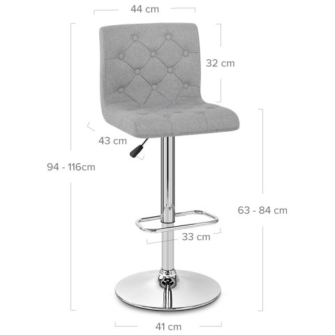 Seattle Gas Lift Stool Grey Fabric