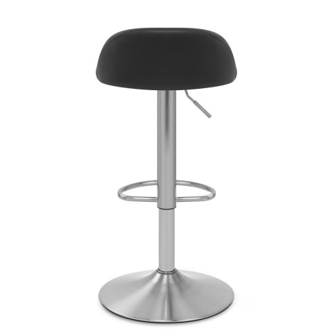 Lulu Brushed Steel Stool Black