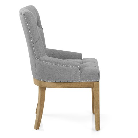 Knightsbridge Oak Chair Grey Fabric