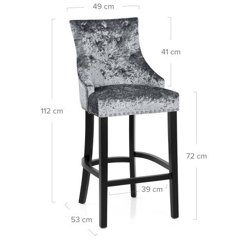Ascot Bar Stool Steel Grey Velvet