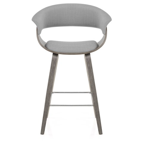 Alexis Wooden Stool Grey Fabric