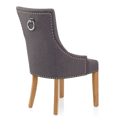 Ascot Oak Dining Chair Charcoal Fabric