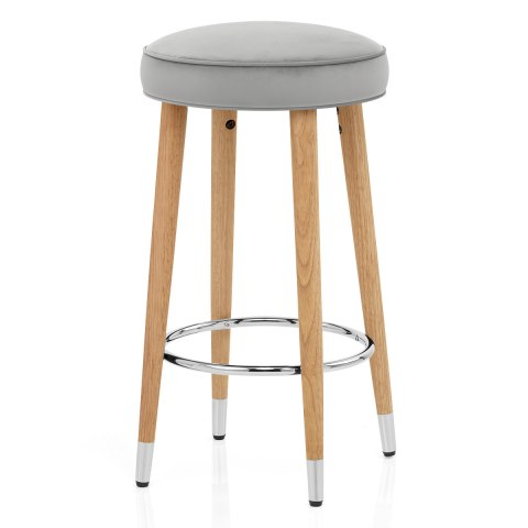 Conrad Oak Stool Grey Velvet
