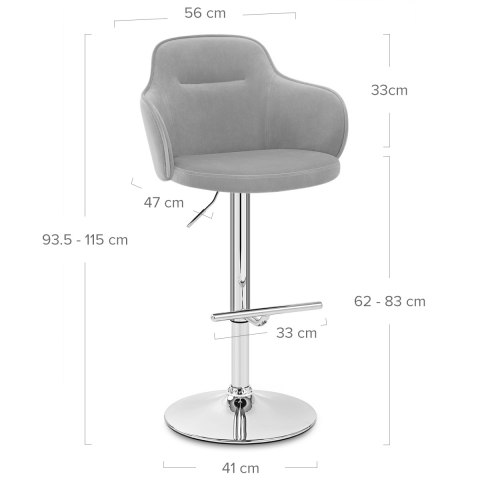 Vista Bar Stool Grey Velvet