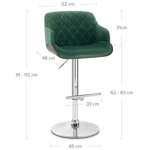 Dakota Bar Stool Green Velvet