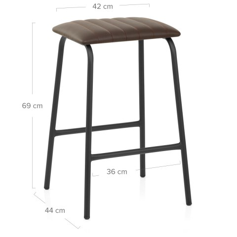 Sasha Real Leather Stool Brown
