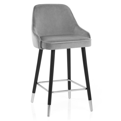 Glam Bar Stool Grey Velvet